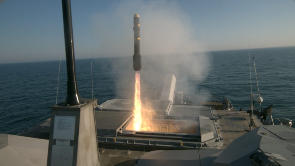 The Freedom variant littoral combat ship USS Milwaukee (LCS-5) fires an AGM-114L Longbow Hellfire missile during a live-fire missile exercise off the coast of Virginia, May 11, 2018. Milwaukee fired four Longbow Hellfire missiles that successfully struck fast inshore attack craft targets during a complex warfighting environment utilizing radar and other systems to track the targets (U.S. Navy photo/Released)