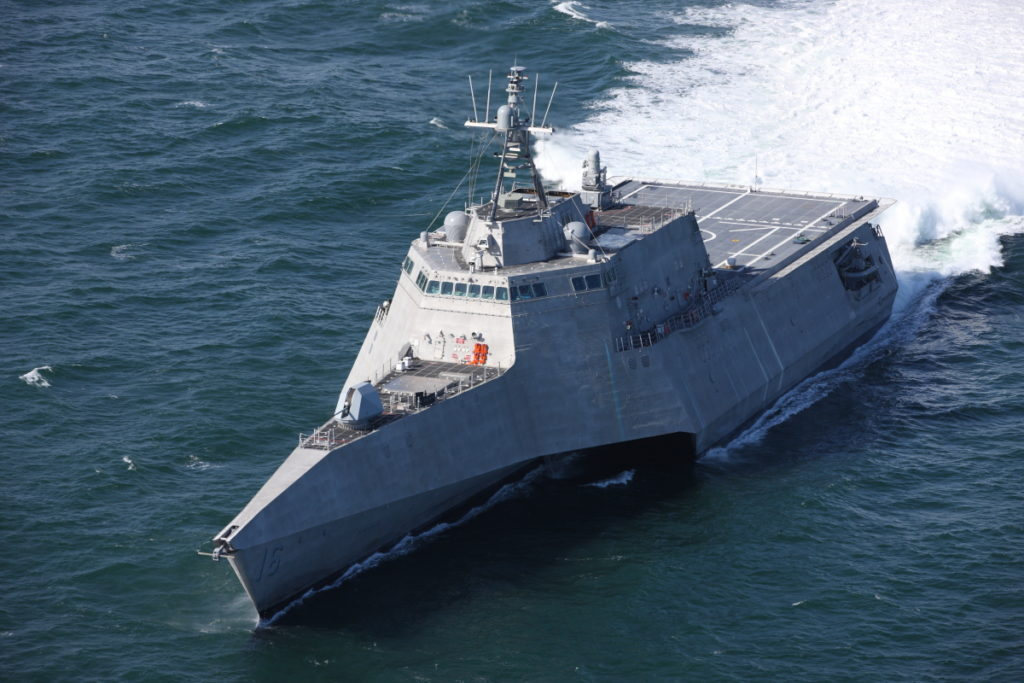 The future USS Tulsa (LCS-16) is underway for acceptance trials, which are the last significant milestone before delivery of the Independence-variant littoral combat ship to the Navy. During trials, the U.S. Navy conducted comprehensive tests of the future USS Tulsa (LCS-16), intended to demonstrate the performance of the propulsion plant, ship handling abilities and auxiliary systems (U.S. Navy photo courtesy of Austal USA/Released)