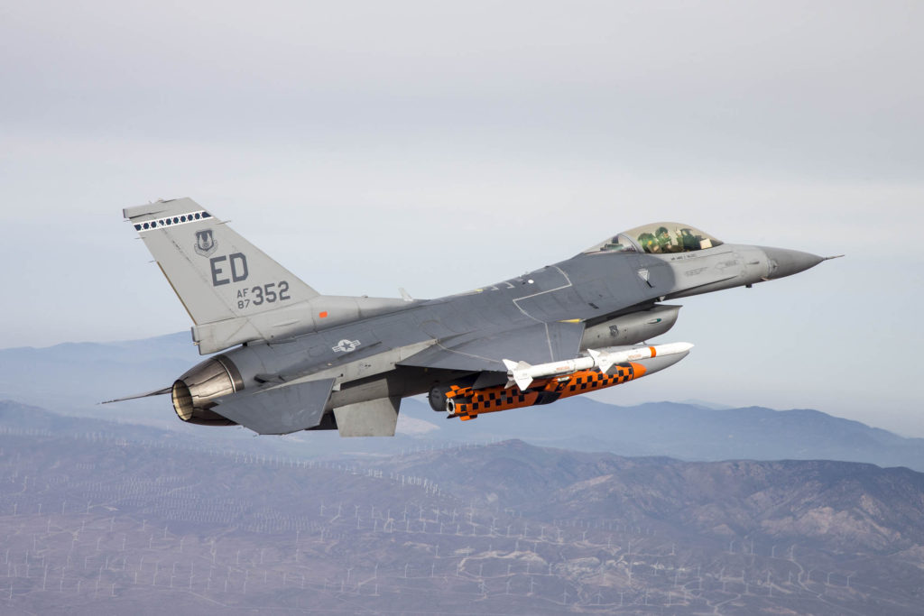 A U.S. Air Force F-16 Fighting Falcon carries a developmental test version of Norway's Joint Strike Missile to its release point above the Utah Test and Training Range west of Salt Lake City. When development is complete, the JSM is intended for use aboard the F-35A Lighting II. The 416th Flight Test Squadron recently wrapped up JSM testing (U.S. Air Force photo by Christopher Okula)
