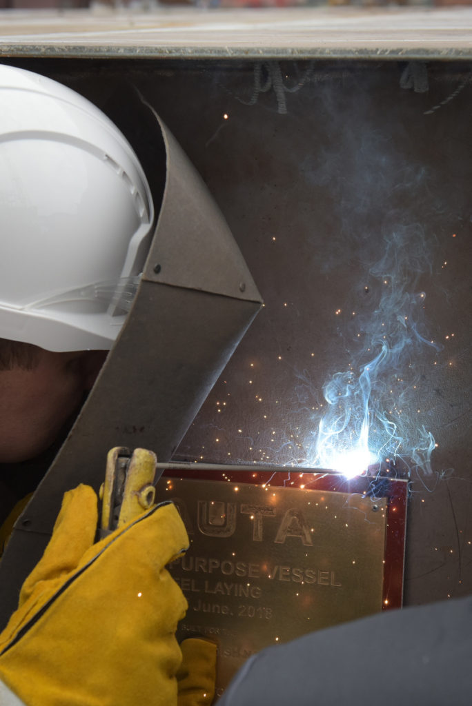 Keel-laying ceremony for Swedish SIGINT ship built at Polish Naval Shipyard