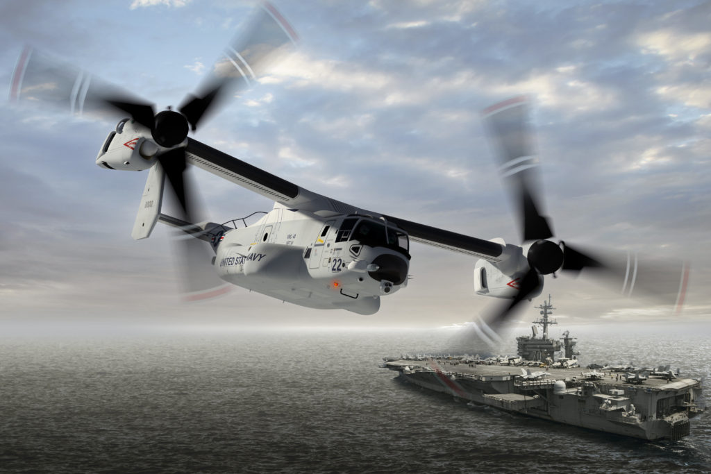 The U.S. Navy will use its new CMV-22B for transporting personnel and cargo from shore to aircraft carriers, eventually replacing the C-2 Greyhound, which has been in service since the mid-1960s (Boeing image)