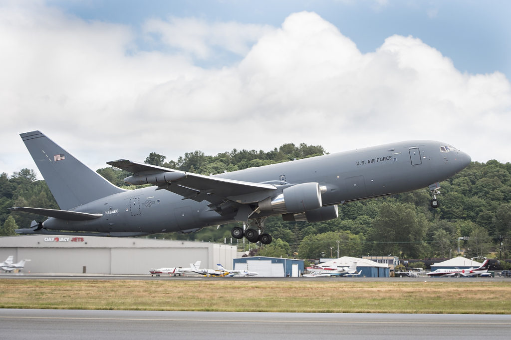 A KC-46A Pegasus tanker takes off from Boeing Field, Seattle, June 4, 2018. The KC-46 Pegasus program achieved an important milestone July 6, with completion of the final flight tests required for first aircraft delivery to the U.S. Air Force (Courtesy photo)