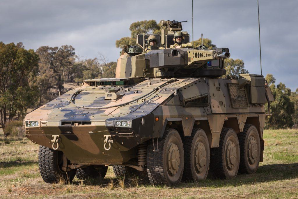 An Australian Army Rheinmetall Boxer Combat Reconnaissance Vehicle on display during Exercise Chong Ju at Puckapunyal training area, Victoria, on 16 May 2018