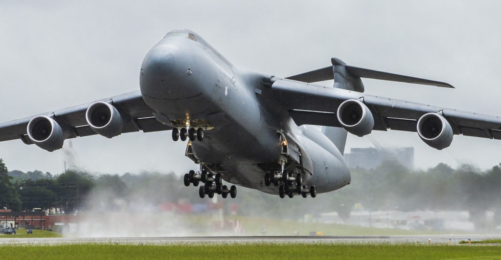 The C-5 is capable of carrying two 78-ton M1A1 main battle tanks