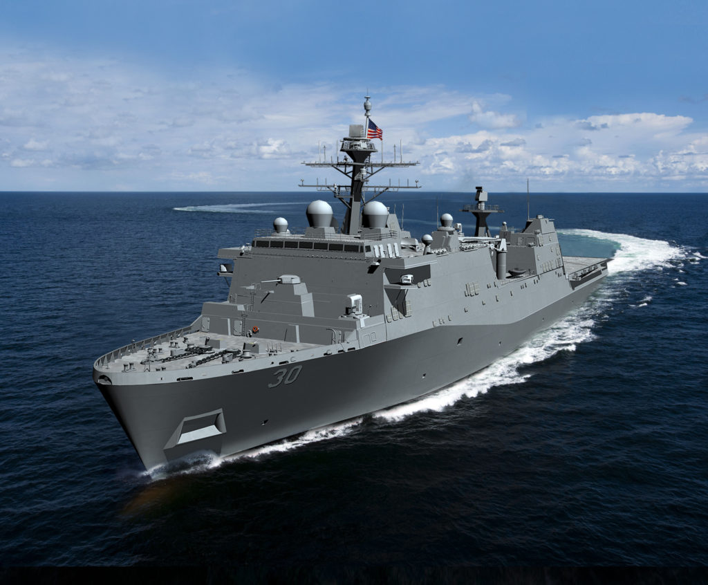 HII's Ingalls Shipbuilding division has received a $165.5 million contract to provide long-lead-time material and advance construction activities for LPD-30, the first Flight II LPD (HII rendering)