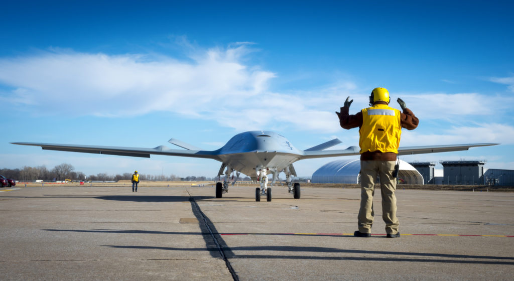 Boeing's MQ-25 unmanned aerial refueler, known as T1, is currently being tested at Boeing's St. Louis site. T1 has completed engine runs and deck handling demonstrations designed to prove the agility and ability of the aircraft to move around within the tight confines of a carrier deck (Photo: Eric Shindelbower, Boeing)