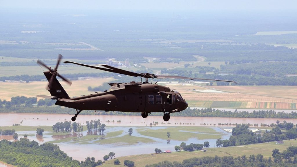 A Louisiana National Guard UH-60 Black Hawk is used to assess flooding on June 5, 2015. Latvia wants to purchase four of the Sikorsky-made helicopters (1st Lieutenant Rebekah Malone/Army National Guard)