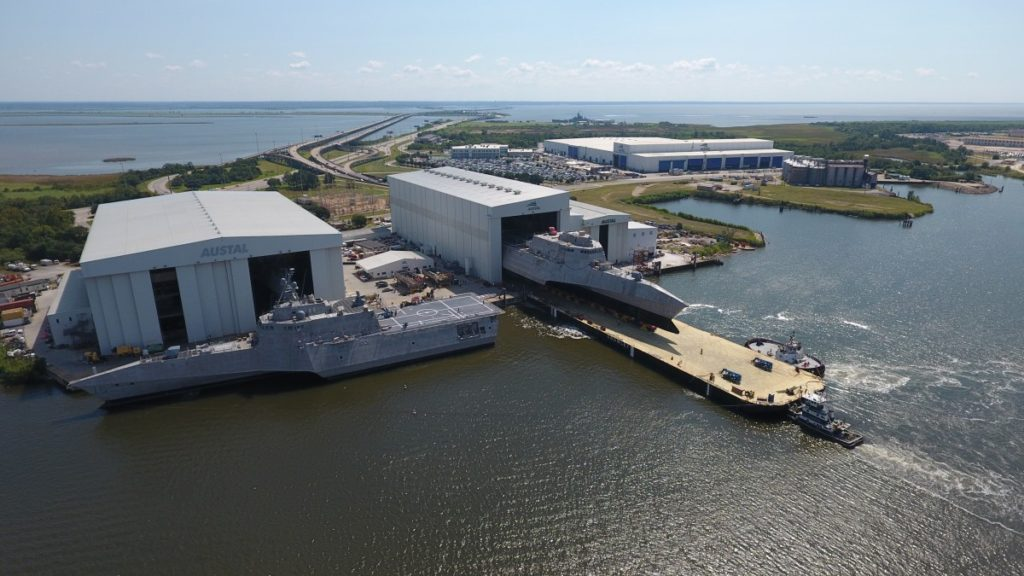 Littoral Combat Ship USS Charleston (LCS-18) during launch at Austal USA's Mobile, Alabama shipyard in September 2017. LCS-16 (Tulsa) alongside (Image: Austal)