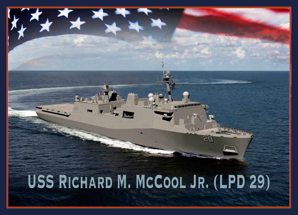 A graphic illustration of the future San Antonio-class amphibious transport dock ship USS Richard M. McCool Jr. (LPD-29) (U.S. Navy photo illustration by Mass Communication Specialist 1st Class Raymond D. Diaz III/Released)