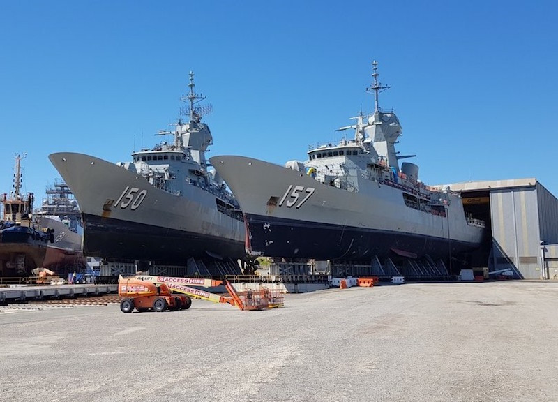 An unusual view of two Australian ANZAC-class frigates at BAE's dockyard in South Australia. The third frigate has arrived there to undergo the AMCAP upgrade, and all ten upgraded ships of this class will return to active service by 2023 (BAE photo)
