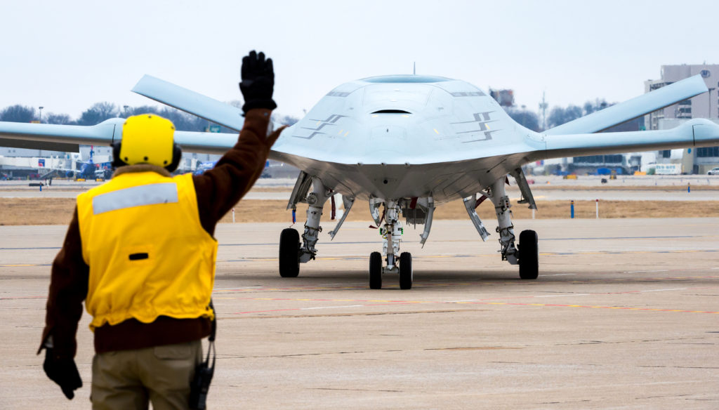 File photo dated January 29, 2018. Boeing conducts MQ-25 deck handling demonstration at its facility in St. Louis, Missouri (U.S. Navy photo courtesy of The Boeing Co./Released)