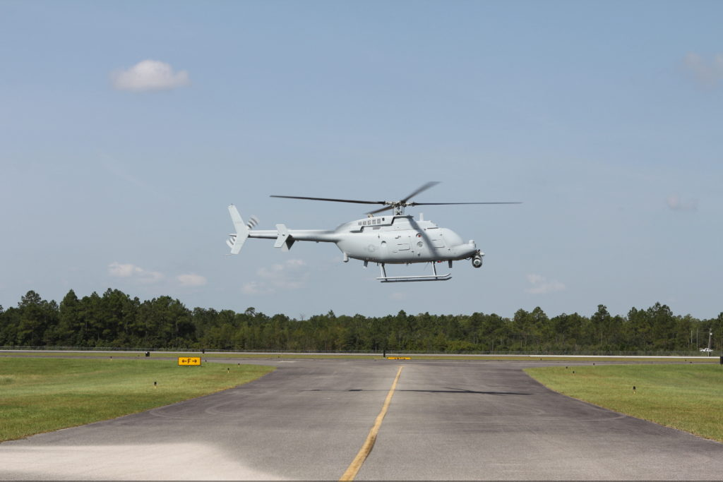 Northrop Grumman's MQ-8C Fire Scout takes off for its first flight out of Trent Lott International Airport in Moss Point, Mississippi