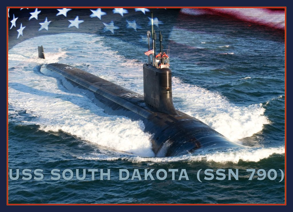 An artist rendering of the Virginia-class submarine USS South Dakota (SSN-790) (U.S. Navy photo illustration by Stan Bailey/Released)