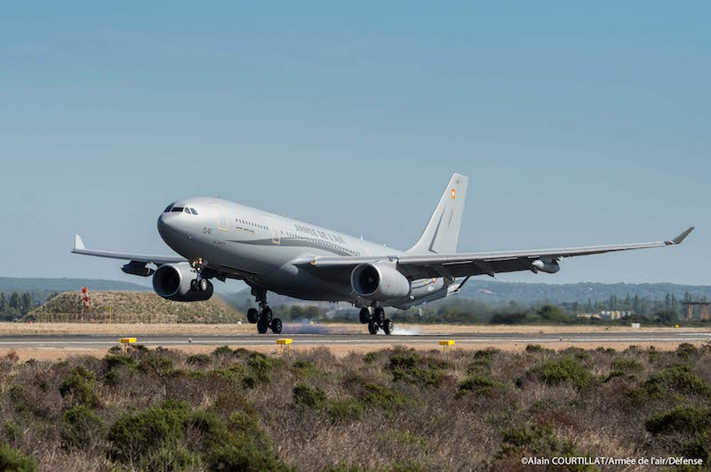 The French Air Force's first Airbus MRTT tanker aircraft lands at its new home base at Istres, in south-eastern France, where it will be officially inducted on October 19 (FR AF photo)