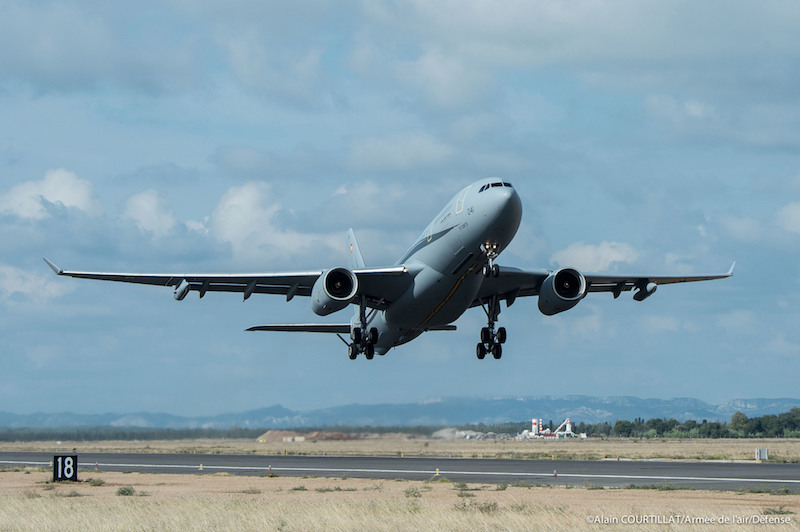 The French Air Force's first Airbus A330 tanker takes off to begin its operational trials, due to be completed in late 2019 when it is due to attain its IOC. France plans to order 12, with another three to follow after 2025 (FR AF photo)