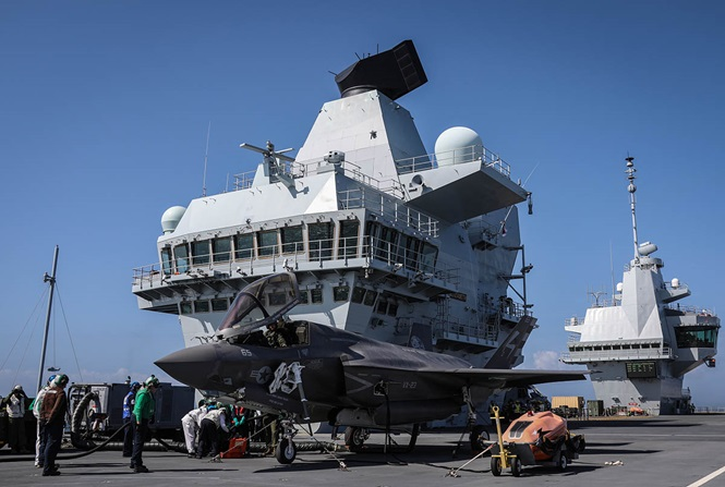 F-35B Lightning II jet on board HMS Queen Elizabeth (R08)