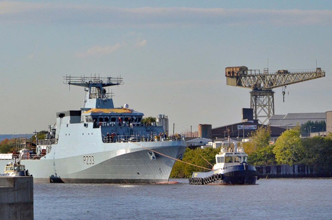 HMS Tamar (P233) is launched as HMS Medway (P223) gears up for maiden voyage