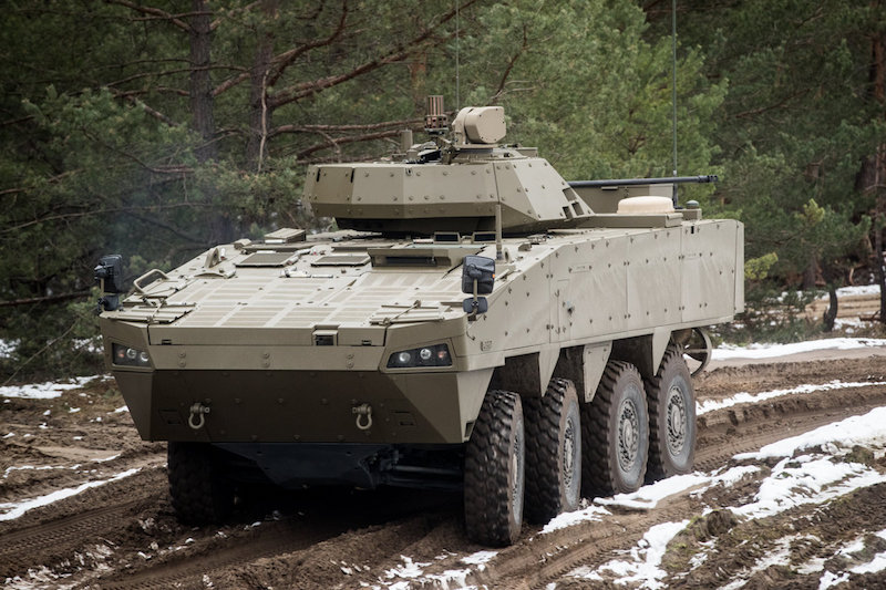 The Vydra infantry combat vehicle selected by Slovakia is a variant of the AMV developed by Finland's Patria, fitted with a Slovakian-produced turret and with minor changes (SME photo)