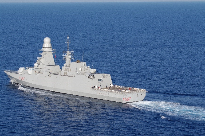 The Italian Navy's eighth FREMM-class frigate, ITS Antonio Marceglia (F-597), completed her sea trials on November 20, and her Final Official Acceptance by the Italian Navy is scheduled for April (OCCAR photo)