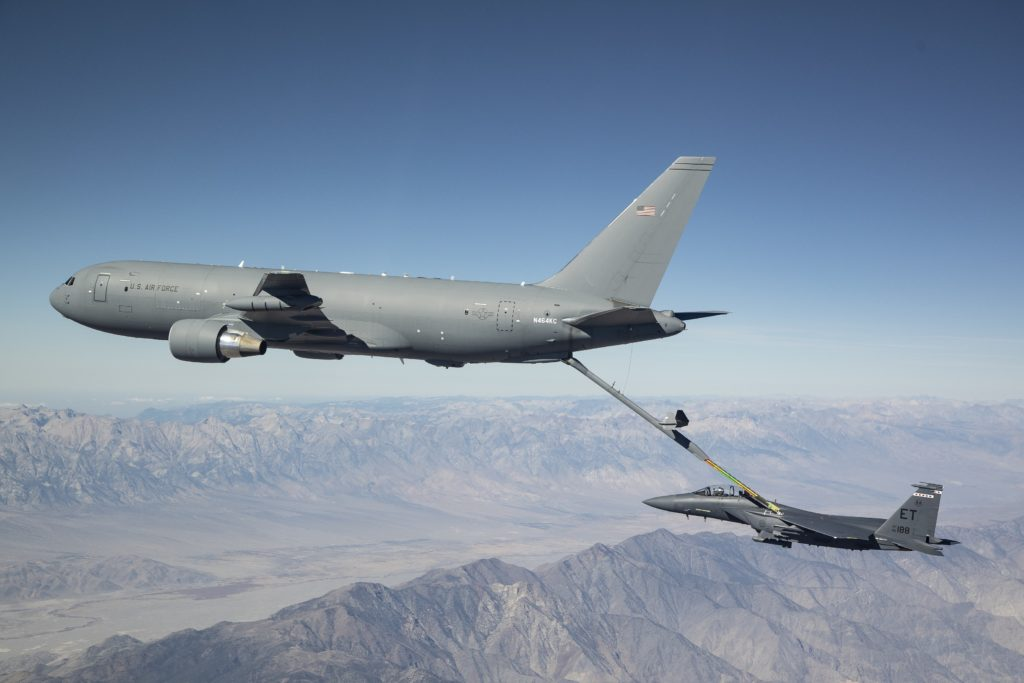 Boeing's KC-46A Pegasus tanker refuels an F-15E Strike Eagle aircraft during Phase II receiver certification testing out of Edwards Air Force Base, California. A Boeing/U.S. Air Force team completed receiver certification with F-16 Fighting Falcon, KC-135 Stratotanker, C-17 Globemaster III, A-10 Thunderbolt II, KC-46A Pegasus, B-52 Stratofortress, F/A-18 Super Hornet and F-15E Strike Eagle aircraft (Photo: Boeing)