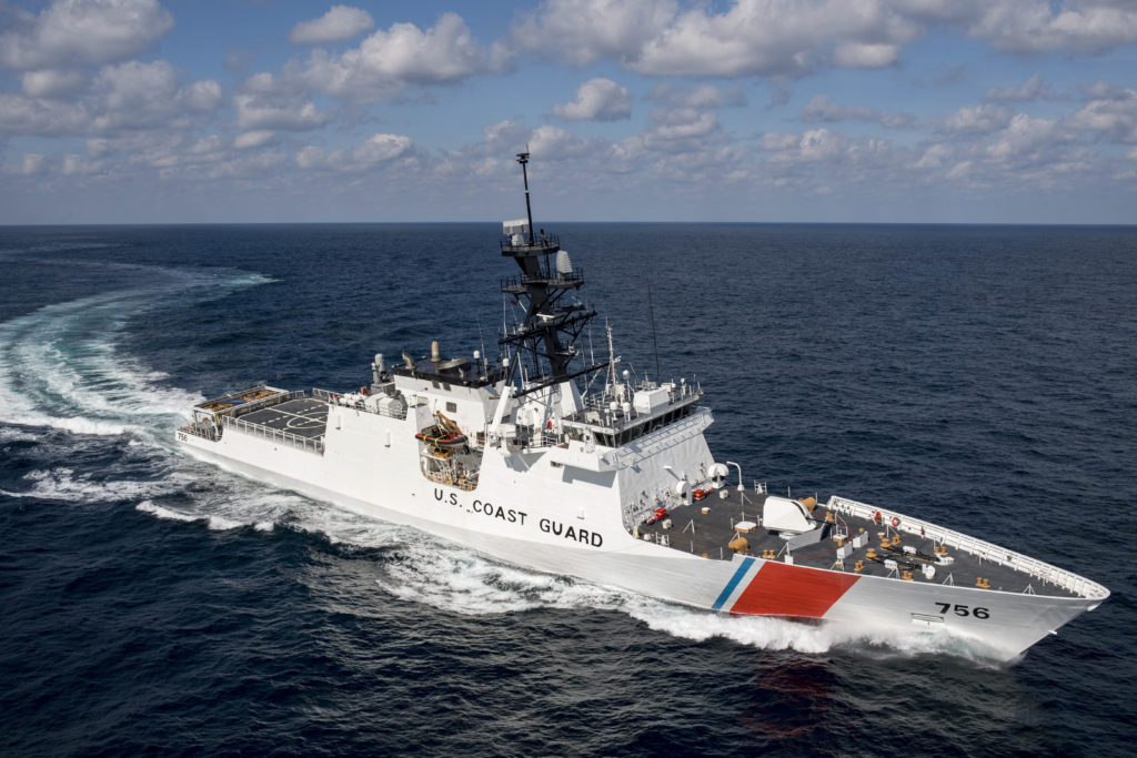 Ingalls Shipbuilding's seventh U.S. Coast Guard National Security Cutter, USCGC Kimball (WMSL-756), during sea trials in the Gulf of Mexico (HII photo)
