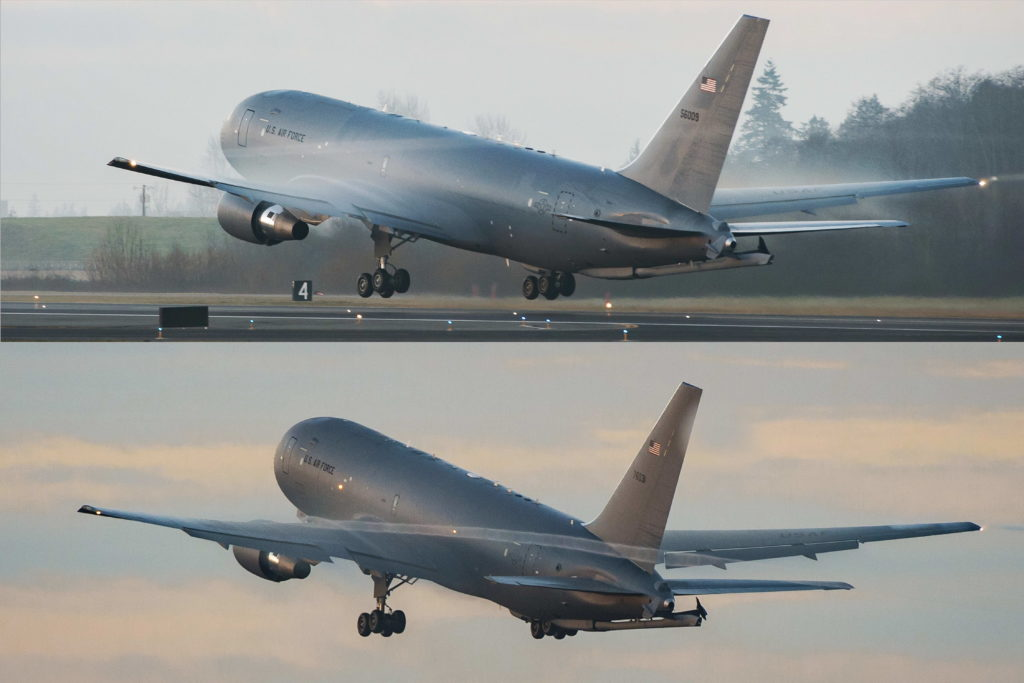 The first two Boeing KC-46A Pegasus tankers departs Everett, Washington for McConnell Air Force Base, Kansas. These aircraft, the first delivered by the program, will join the U.S. Air Force 22nd Air Refueling Wing (Boeing photo)
