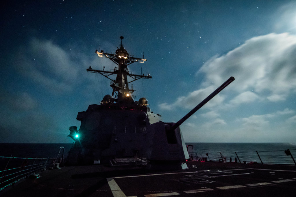 Guided-missile destroyer USS Dewey (DDG-105) transits the Pacific Ocean while underway in the U.S. 3rd Fleet area of operations (U.S. Navy Photo)