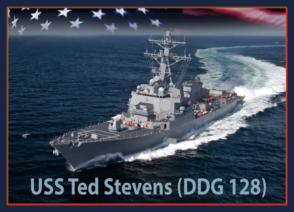 An artist rendering of the future Arleigh Burke-class guided-missile destroyer USS Ted Stevens (DDG-128) (U.S. Navy photo illustration/Released)