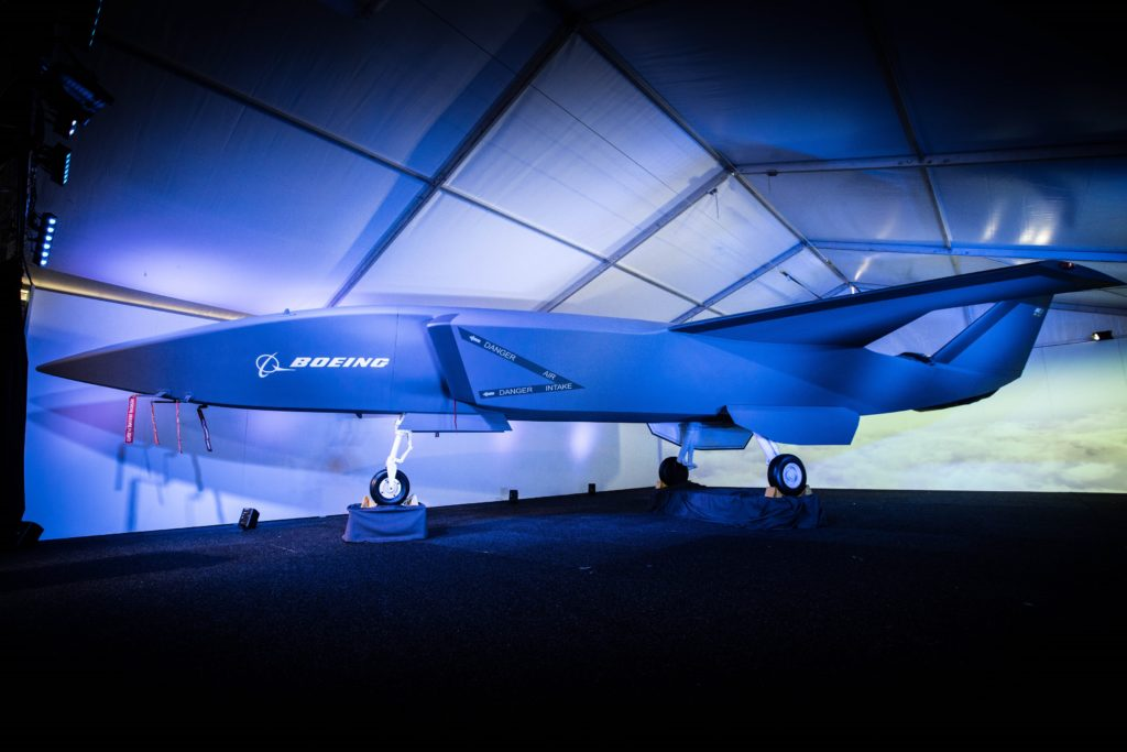 A model of the unmanned Boeing Airpower Teaming System was unveiled at the Australian International Airshow February 27. The Boeing Airpower Teaming System will provide multi-mission support for air control missions (Boeing photo)