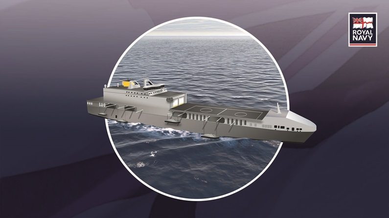 These Littoral Strike Ship concept unveiled by UK Defence Secretary Gavin Williamson are either purpose-built amphibious ships, or converted civilian ferries, which would carry a scalable force the future commando force (RN image)
