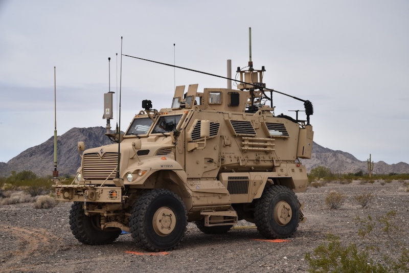 An Electronic Warfare Tactical Vehicle being prepared for test operations at Fort Irwin, California. The new vehicle will allow U.S. Army units to detect and attack in the EMG electromagnetic spectrum at operationally-relevant ranges (Photo by Captain Scott Kuhn)