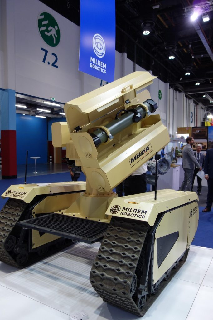 The land combat warfare system is intended to be remotely operated. Soldiers can deploy it while remaining at a safe distance and using a wireless or a tethered connection