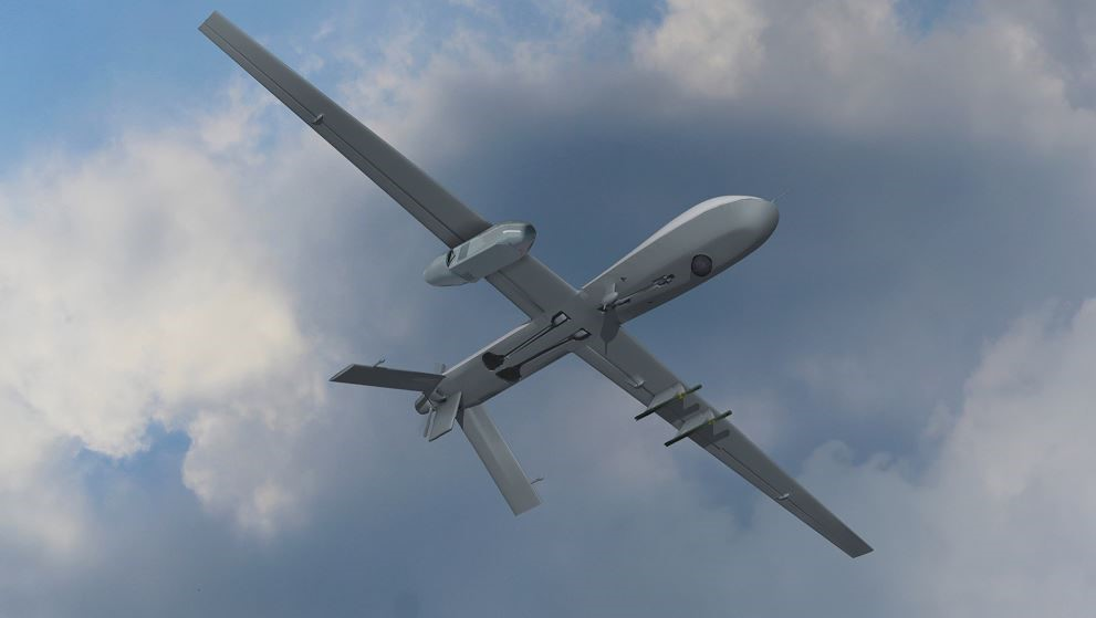 Artist rendering of the Silent CROW podded system mounted on a Gray Eagle unmanned aerial system (Credit: Lockheed Martin)