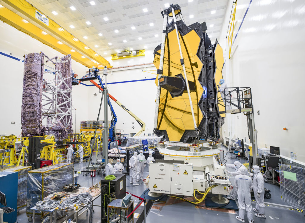 Both halves of NASA's James Webb Space Telescope are housed in Northrop Grumman's cleanroom as they undergo ongoing testing and integration efforts