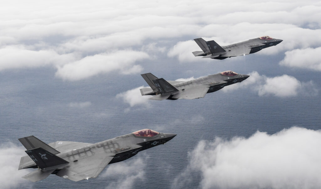 Three F-35C Lightning II aircraft attached to the «Argonauts» of Strike Fighter Squadron (VFA) 147, the «Rough Raiders» of Strike Fighter Squadron (VFA) 125 and the «Grim Reapers» of Strike Fighter Squadron (VFA) 101, all attached to Commander, Joint Strike Fighter Wing, complete a flight over Eglin Air Force Base in Fort Walton Beach, Florida, February 1, 2019. Commander, Joint Strike Fighter Wing, headquartered at NASL ensures that each F-35C Lightning II squadron is fully combat-ready to conduct carrier-based, all-weather, attack, fighter and support missions for Commander, Naval Air Forces. With its stealth technology, advanced sensors, weapons capacity and range, the F-35C Lightning II will be the first 5th generation aircraft operated from an aircraft carrier (U.S. Navy photo by Chief Mass Communication Specialist Shannon E. Renfroe/Released)