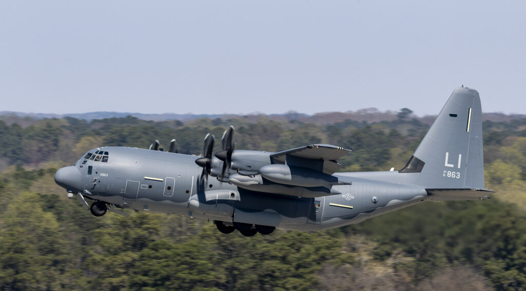 The first HC-130J Commando II assigned to the N.Y. Air National Guard's 106th Rescue Wing departs Lockheed Martin's facility in Marietta, Georgia, where all C-130s are built (Lockheed Martin photo by Todd R. McQueen)