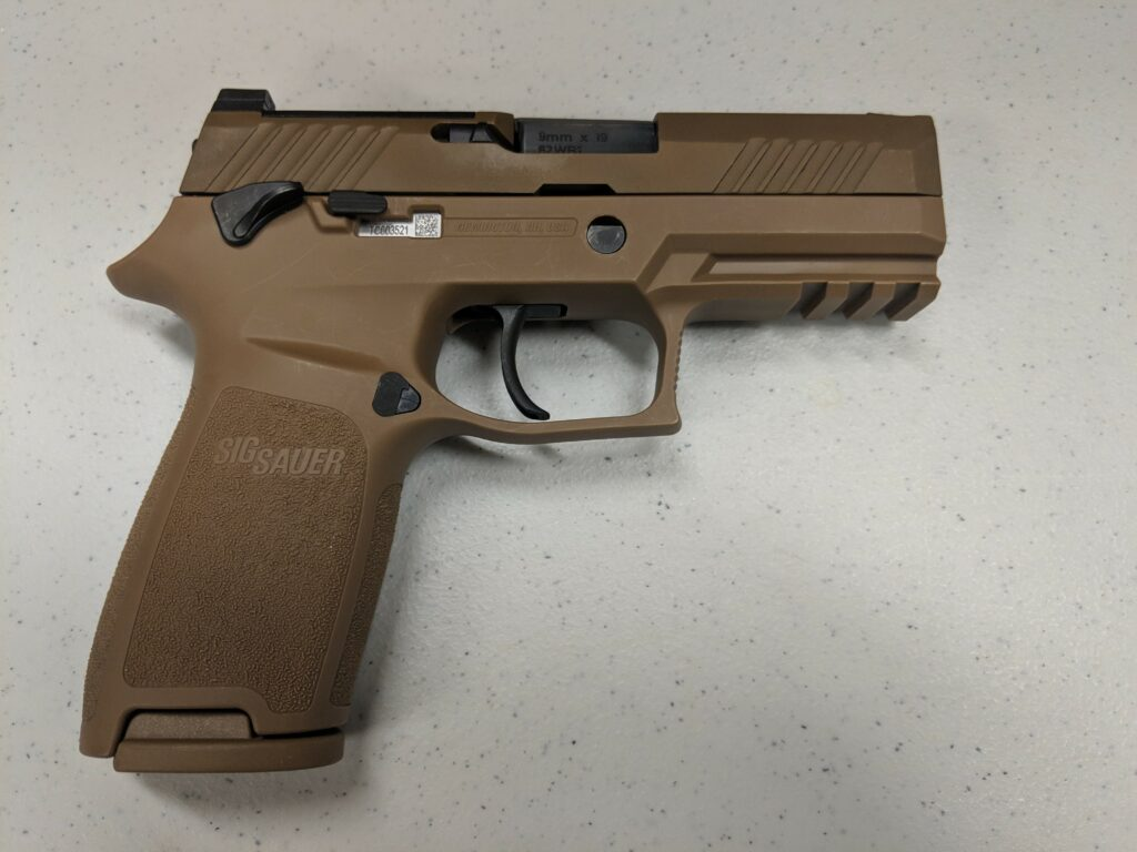 The Air Force Security Forces Center, in partnership with the Air Force Small Arms Program Office, has begun fielding the new M18 Modular Handgun System to Security Forces units (U.S. Air Force photo by Vicki Stein/Released)