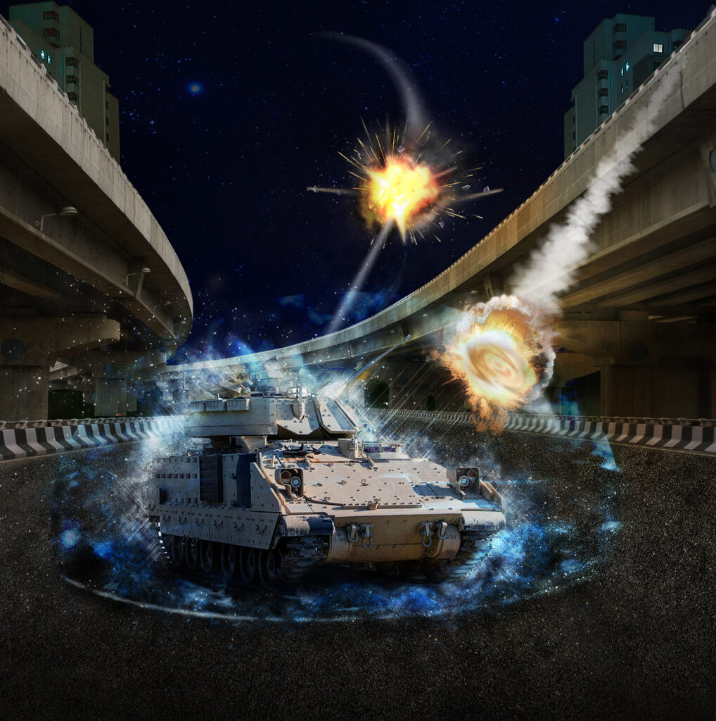 MAPS-enabled countermeasures integrated by Lockheed Martin defeat threats in U.S. Army field tests (city road viaduct streetscape of night scene in Shanghai)