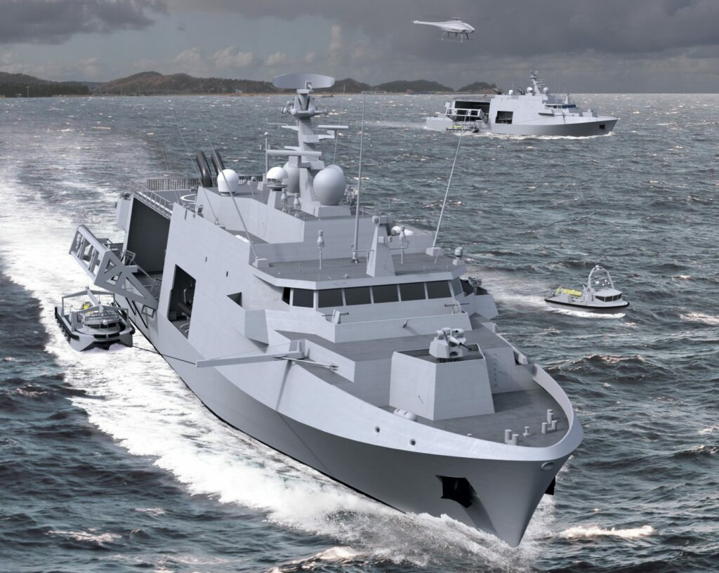 Belgium and The Netherlands have selected the new minehunting system developed by Naval Group and ECA to replace their Tripartite-class minehunters; it will consist of mother ships operating unmanned surface and underwater vehicles (BN&RC image)