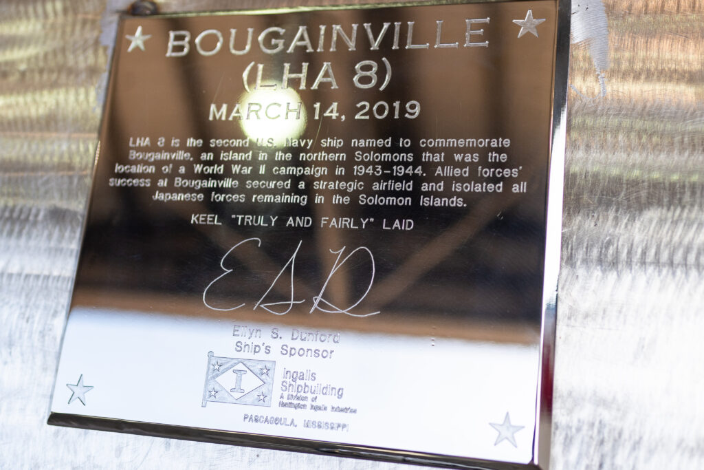 Official Keel Plate for Bougainville (LHA-8)